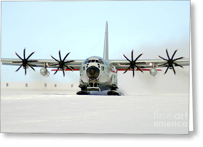A Ski-equipped Lc-130 Hercules Greeting Card by Stocktrek Images