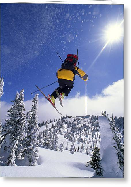 The Big One Greeting Cards - A Skier In Mid Air At The Big Mountain Greeting Card by Gordon Wiltsie