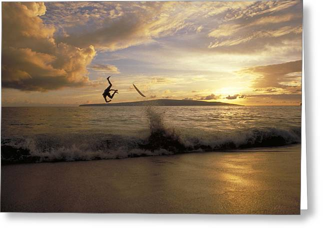 Wipe Out Greeting Cards - A Skimboarder Flips Head Over Heels Greeting Card by Skip Brown