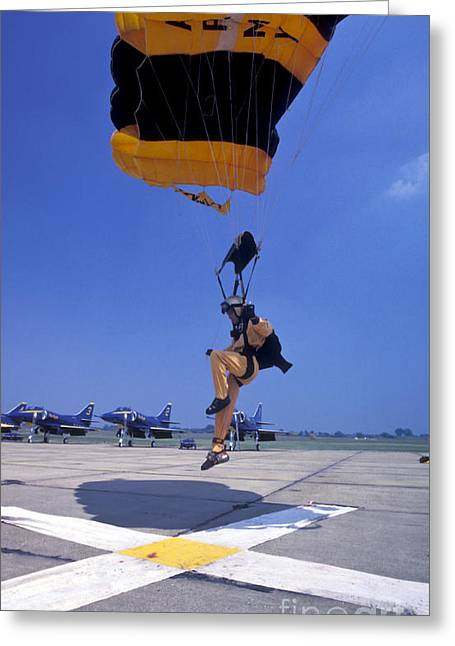 A Skydiver From The U.s. Army Golden Greeting Card by Michael Wood