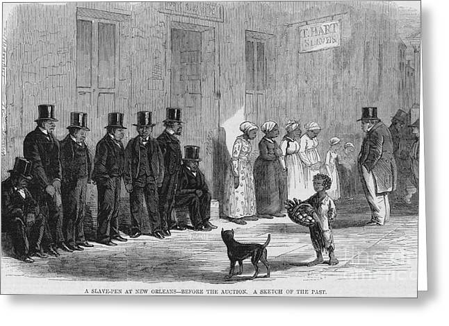 Negro Greeting Cards - A Slave-pen At New Orleans Before Greeting Card by Photo Researchers