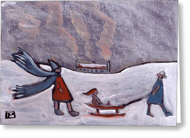 Sledge Pastels Greeting Cards - A sledge in snow Greeting Card by Peter  McPartlin