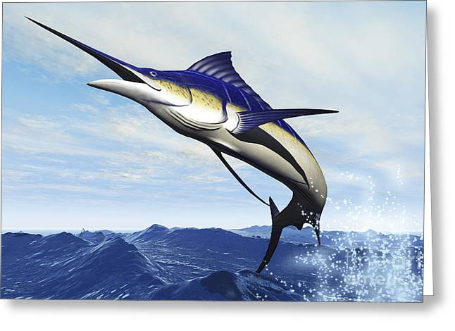 Generate Life Greeting Cards - A Sleek Blue Marlin Bursts Greeting Card by Corey Ford