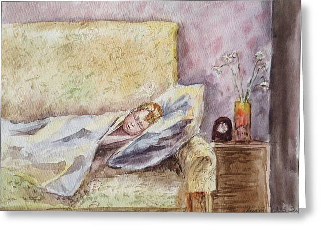 Family Portrait Greeting Cards - A Sleeping Toddler Greeting Card by Irina Sztukowski