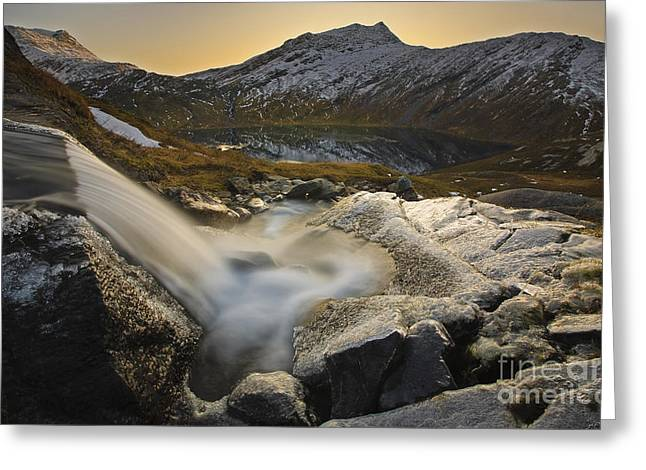 Sunset In Norway Greeting Cards - A Small Creek Running Greeting Card by Arild Heitmann