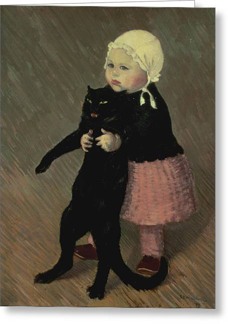 Tricks Paintings Greeting Cards - A Small Girl with a Cat Greeting Card by TA Steinlen