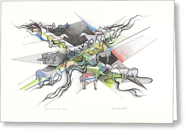 Pen And Ink Drawing Greeting Cards - A Small Herd At The Edge Of Town Greeting Card by Duane Ewing