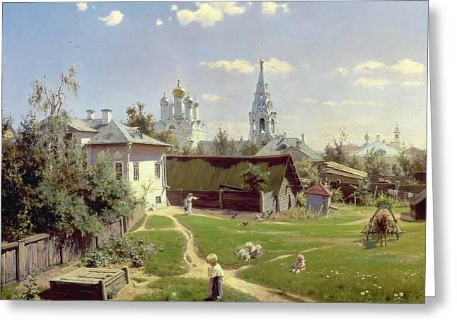 Steeples Greeting Cards - A Small Yard in Moscow Greeting Card by Vasilij Dmitrievich Polenov