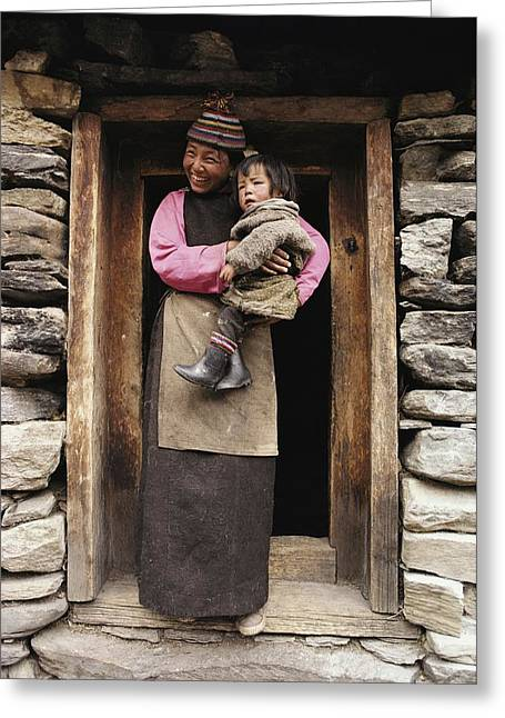 National Children Greeting Cards - A Smiling Bhutanese Woman And Child Greeting Card by Paul Chesley