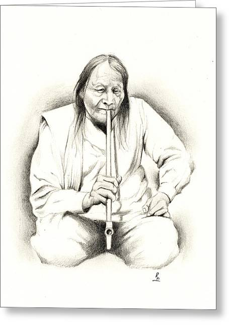 Sacred Drawings Greeting Cards - A Smoke Greeting Card by Robert Martinez