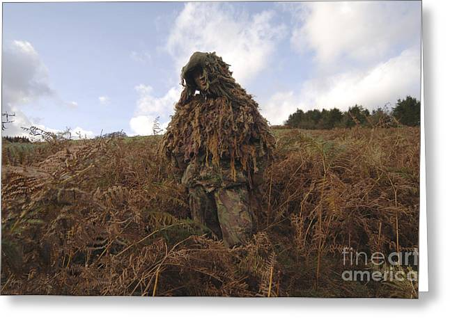 Foreign Military Greeting Cards - A Sniper Dressed In A Ghillie Suit Greeting Card by Andrew Chittock