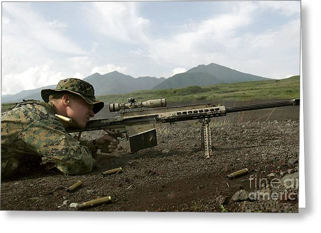 .50 Caliber Greeting Cards - A Sniper Fires A M82a3 .50-caliber Greeting Card by Stocktrek Images