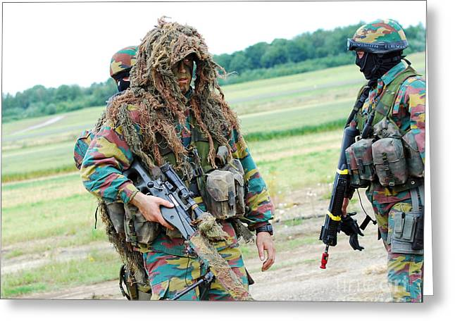 Netting Greeting Cards - A Sniper Of The Belgian Army Together Greeting Card by Luc De Jaeger