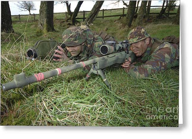 Marksman Greeting Cards - A Sniper Team On The Lookout Greeting Card by Andrew Chittock