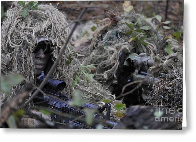 Sharpshooter Greeting Cards - A Sniper Team Spotter And Shooter Greeting Card by Stocktrek Images
