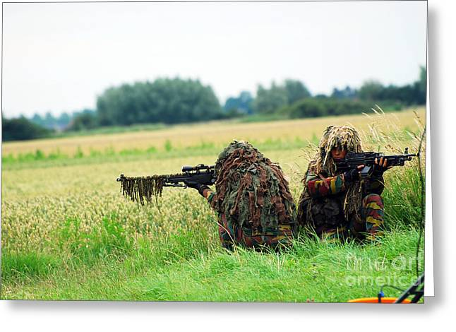 A Sniper Unit Of The Paracommandos Greeting Card by Luc De Jaeger