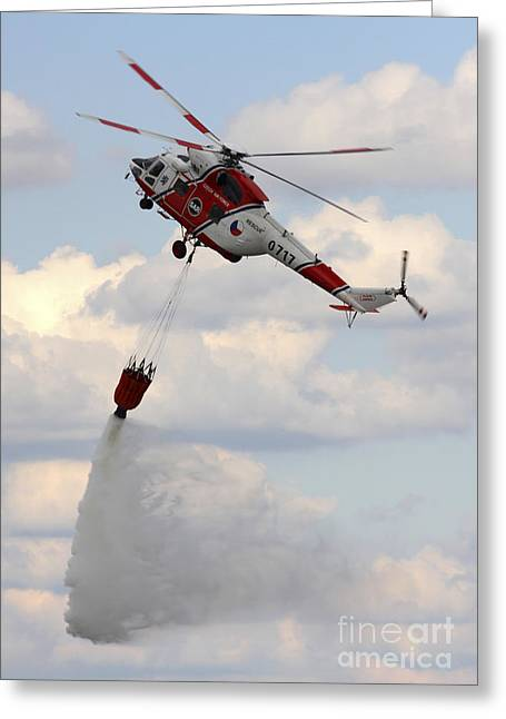 Hradec Greeting Cards - A Sokol W-3a Helicopter Of The Czech Greeting Card by Timm Ziegenthaler