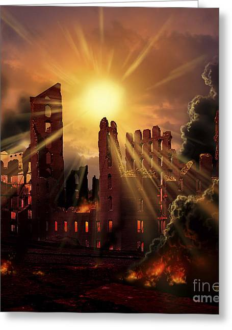 Destiny Greeting Cards - A Solar Flare, An Enormous Eruption Greeting Card by Ron Miller