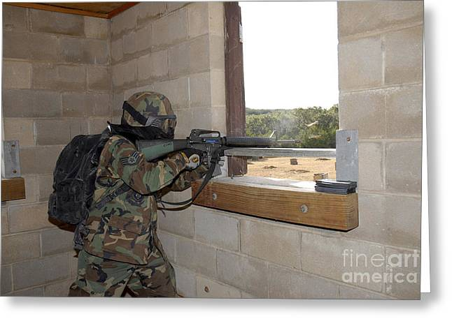 Urban Warfare Greeting Cards - A Soldier Acts As An Opposition Force Greeting Card by Stocktrek Images