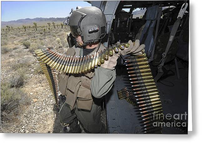 Reloading Greeting Cards - A Soldier Carries .50 Caliber Machine Greeting Card by Stocktrek Images