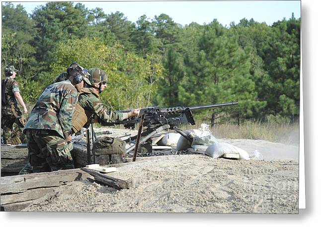Reloading Greeting Cards - A Soldier Charges A .50-caliber Machine Greeting Card by Stocktrek Images