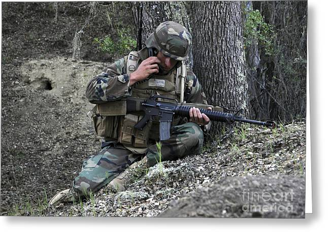 A Soldier Communicates His Position Greeting Card by Stocktrek Images