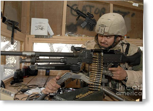Iraq Photographs Greeting Cards - A Soldier Conducts An Observation Greeting Card by Stocktrek Images
