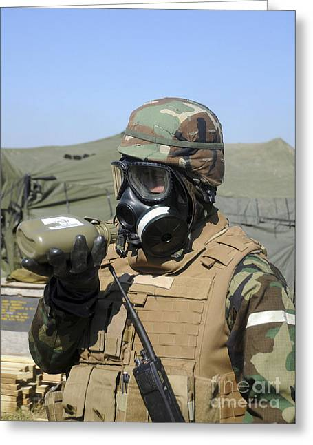 Hazmat Greeting Cards - A Soldier Drinks Water From A Canteen Greeting Card by Stocktrek Images