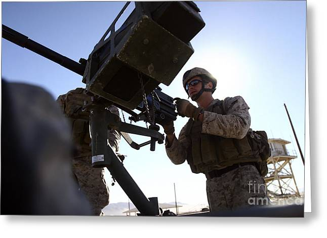 40mm Greeting Cards - A Soldier Fires 40mm Rounds Greeting Card by Stocktrek Images