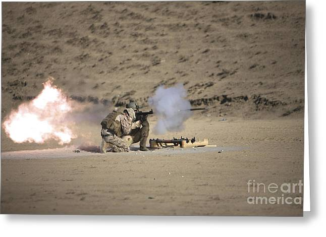 Shoulder-launched Greeting Cards - A Soldier Fires A Rocket-propelled Greeting Card by Terry Moore