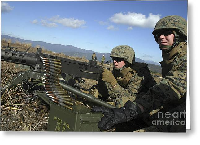 Fed Greeting Cards - A Soldier Fires An M2 .50 Caliber Greeting Card by Stocktrek Images