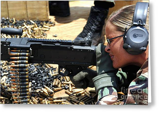 Fed Greeting Cards - A Soldier Fires An M240b Medium Machine Greeting Card by Stocktrek Images