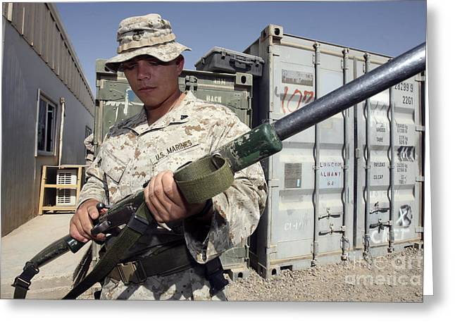 Urban Warfare Greeting Cards - A Soldier Holds The M-40a1 Sniper Rifle Greeting Card by Stocktrek Images