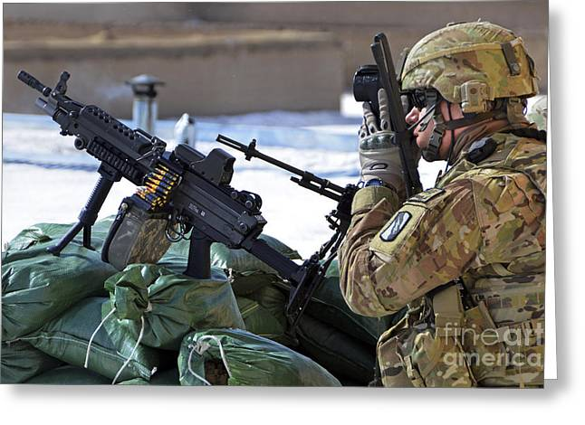 Sha Greeting Cards - A Soldier Keeps A Close Watch Greeting Card by Stocktrek Images