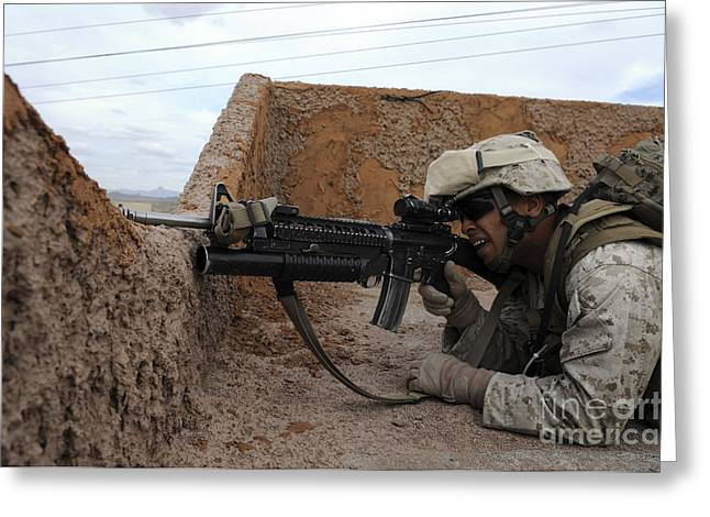 On The Lookout Greeting Cards - A Soldier Keeps Watch For Enemy Greeting Card by Stocktrek Images