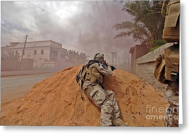 Dirt Pile Greeting Cards - A Soldier Lays Down A Vicious Barrage Greeting Card by Stocktrek Images