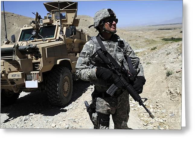 Monitoring Greeting Cards - A Soldier Of The Nangarhar Greeting Card by Stocktrek Images