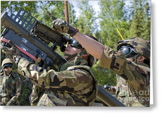 Shoulder-launched Greeting Cards - A Soldier Operates A Missile Launcher Greeting Card by Stocktrek Images