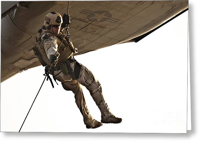 Rappel Greeting Cards - A Soldier Rappels From An Mh-60s Greeting Card by Stocktrek Images