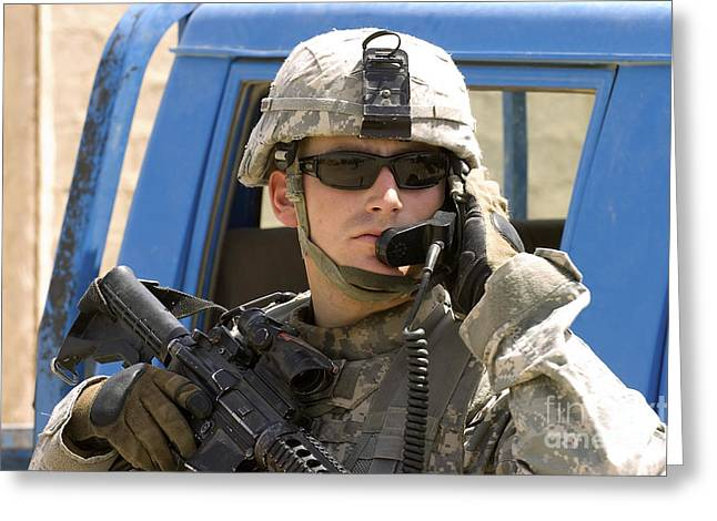 A Soldier Talking Via Radio Greeting Card by Stocktrek Images