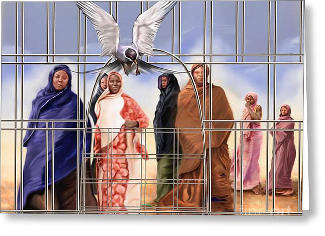 Slavery Greeting Cards - A Song For The Caged Birds Of Mauritania Greeting Card by Reggie Duffie