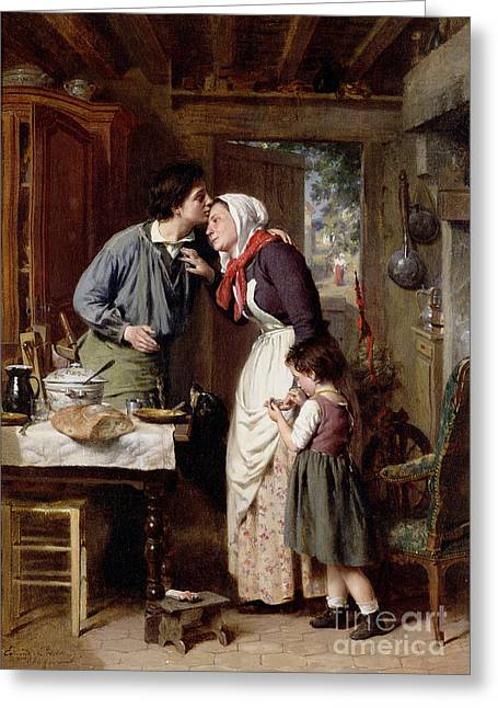 A Kiss Greeting Cards - A Sons Devotion Greeting Card by Pierre Jean Edmond Castan