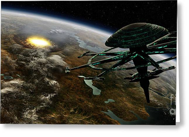 Destiny Greeting Cards - A Space Station Orbits A Terrestrial Greeting Card by Frieso Hoevelkamp