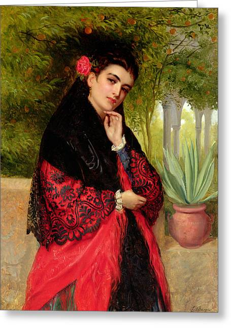 Period Paintings Greeting Cards - A Spanish Beauty Greeting Card by John-Bagnold Burgess