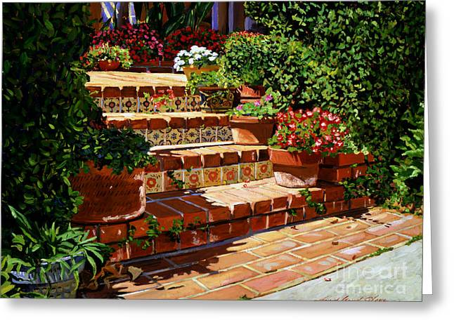 Patio Greeting Cards - A Spanish Garden Greeting Card by David Lloyd Glover