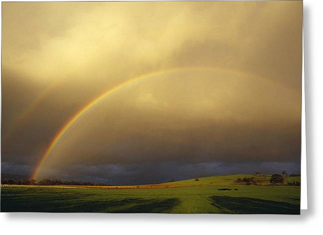 A Spectacular Double Rainbow And Storm Greeting Card by Jason Edwards