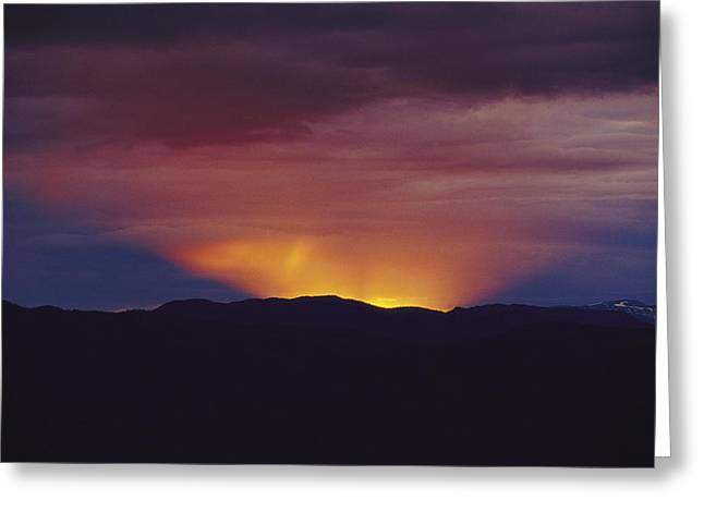 Park Scene Greeting Cards - A Spectacular Sunset Behind The Caribou Greeting Card by Raymond Gehman