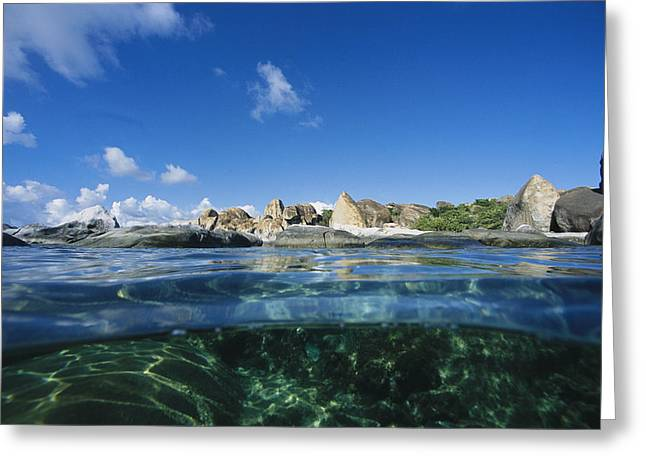Aquatic Split Level Views Greeting Cards - A Split Image Of The Baths, Virgin Greeting Card by Heather Perry