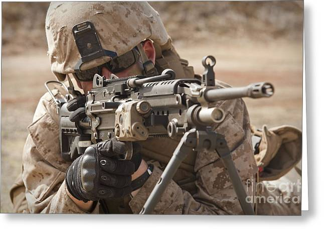 Bipod Greeting Cards - A Squad Automatic Weapon Gunner Greeting Card by Stocktrek Images