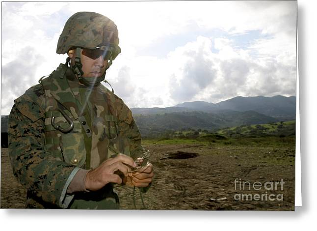 Yanks Greeting Cards - A Squad Leader Prepares A Time Fuse Greeting Card by Stocktrek Images